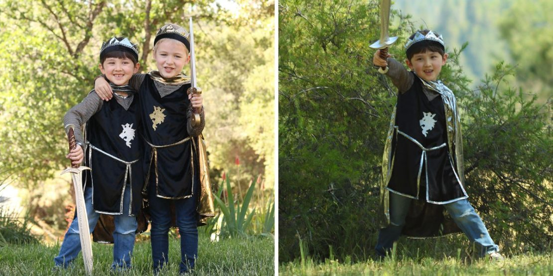 Knight Tunic, Cape, & Crown in Gold or Silver