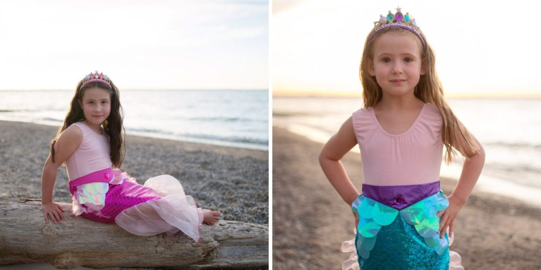 Mermaid Glimmer Skirts with Headband in Pink or Lilac/Blue