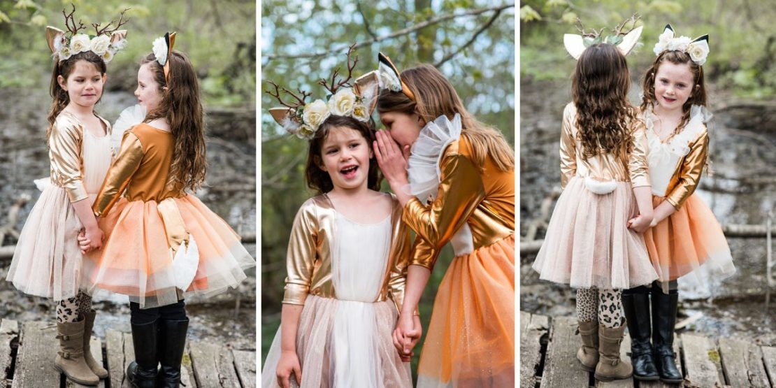 Woodland Fox and Deer Dresses with Headpieces