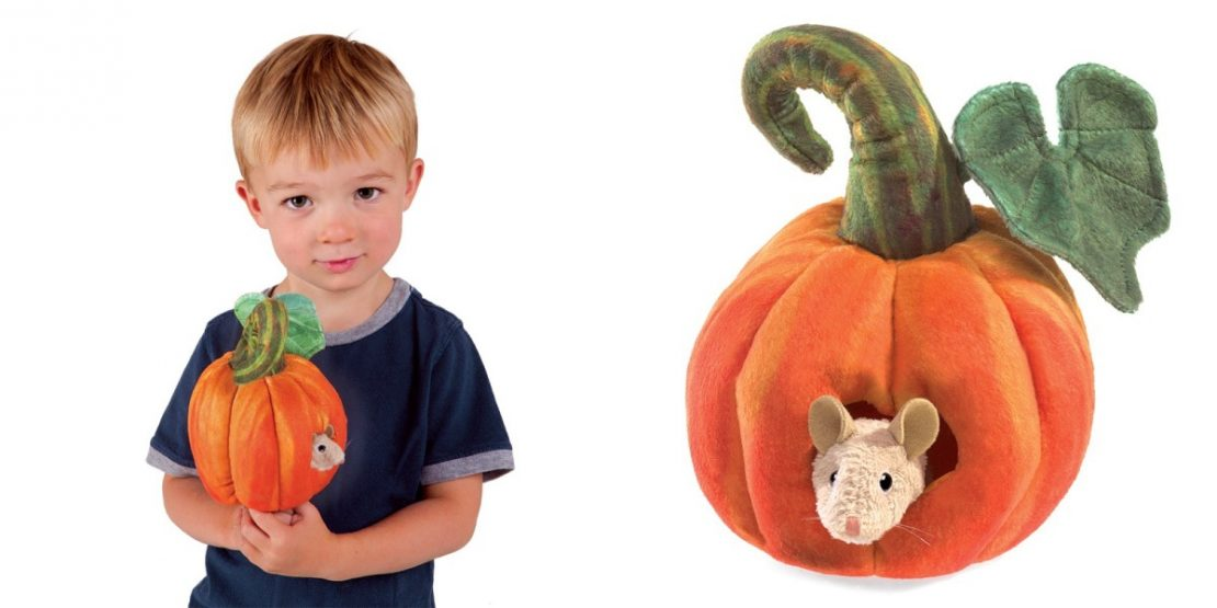 Folkmanis Mouse in Pumpkin puppet