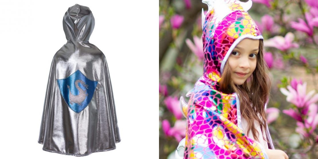 Multicolor Dragon/Knight Reversible Cape from Great Pretenders