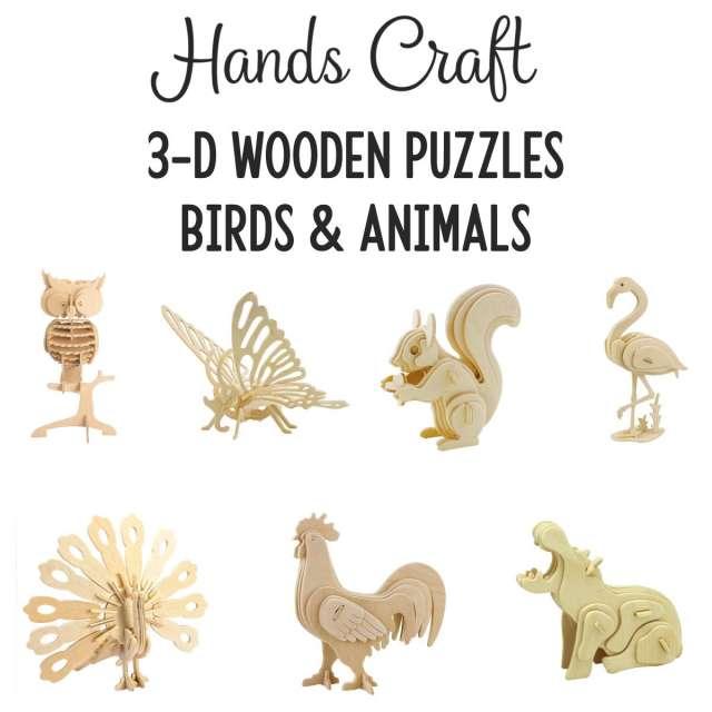 Birds & Animals 3-D Puzzles