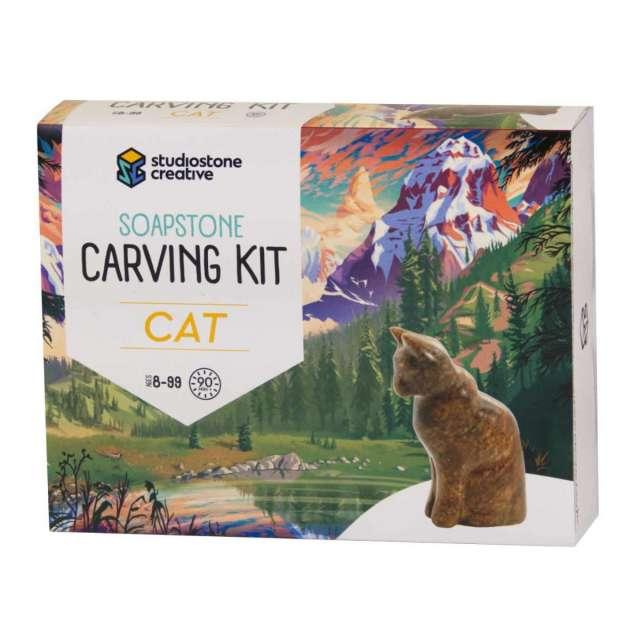 Cat Soapstone Carving Kit