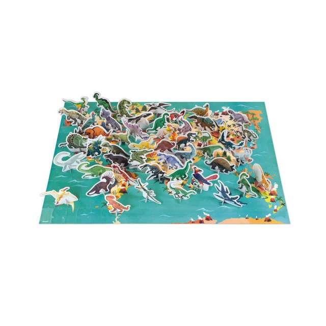 Dinosaur World Map Puzzle - 200 pc