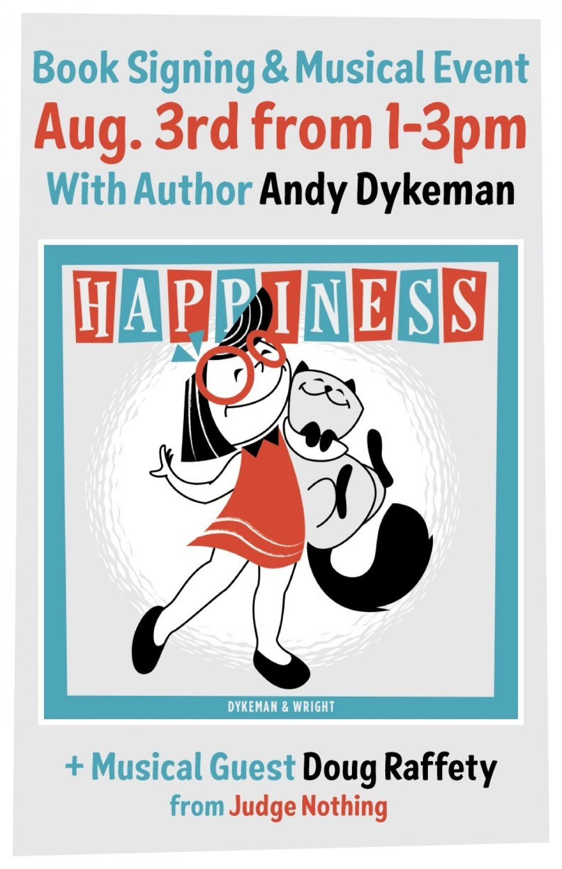 Happiness book event on Aug. 3rd from 1-3pm