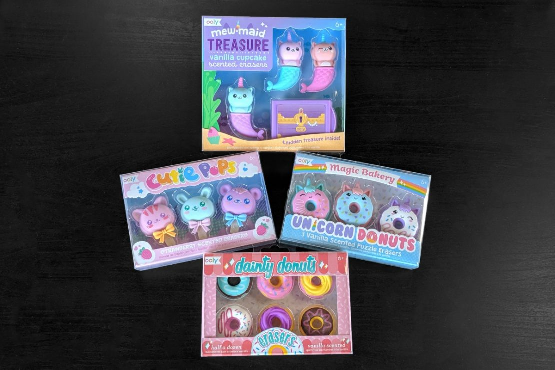 Ooly Little Erasers: Mewmaid Treasure, Cutie Pops, Unicorn Donuts, and Dainty Donuts