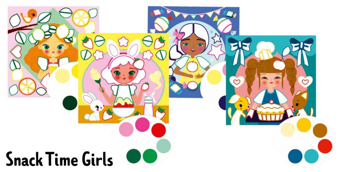 #2 Fanciful Watercolor Prints June 8th Snack Time Girls