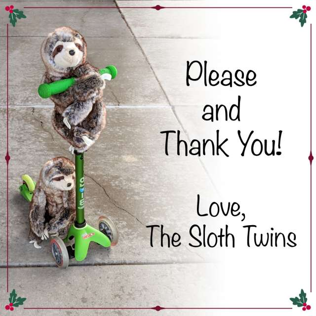 Please and Thank You! Love the Sloth Twins