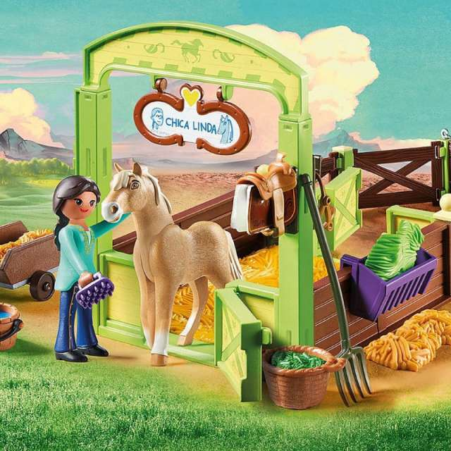 Pru & Chica Linda with Horse Stall Spirit Riding Free Playmobil Set