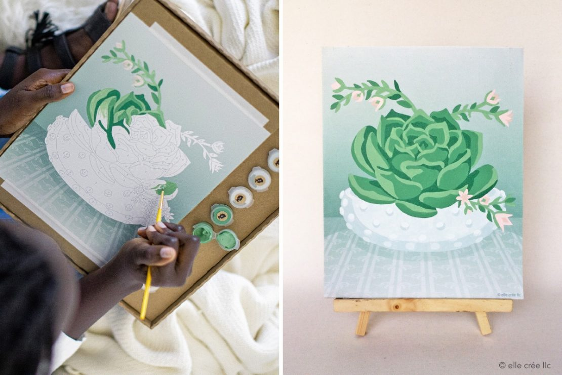 Elle Cree Blooming Succulent in Progress