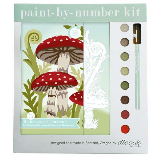 Mushrooms & Fern Fronds