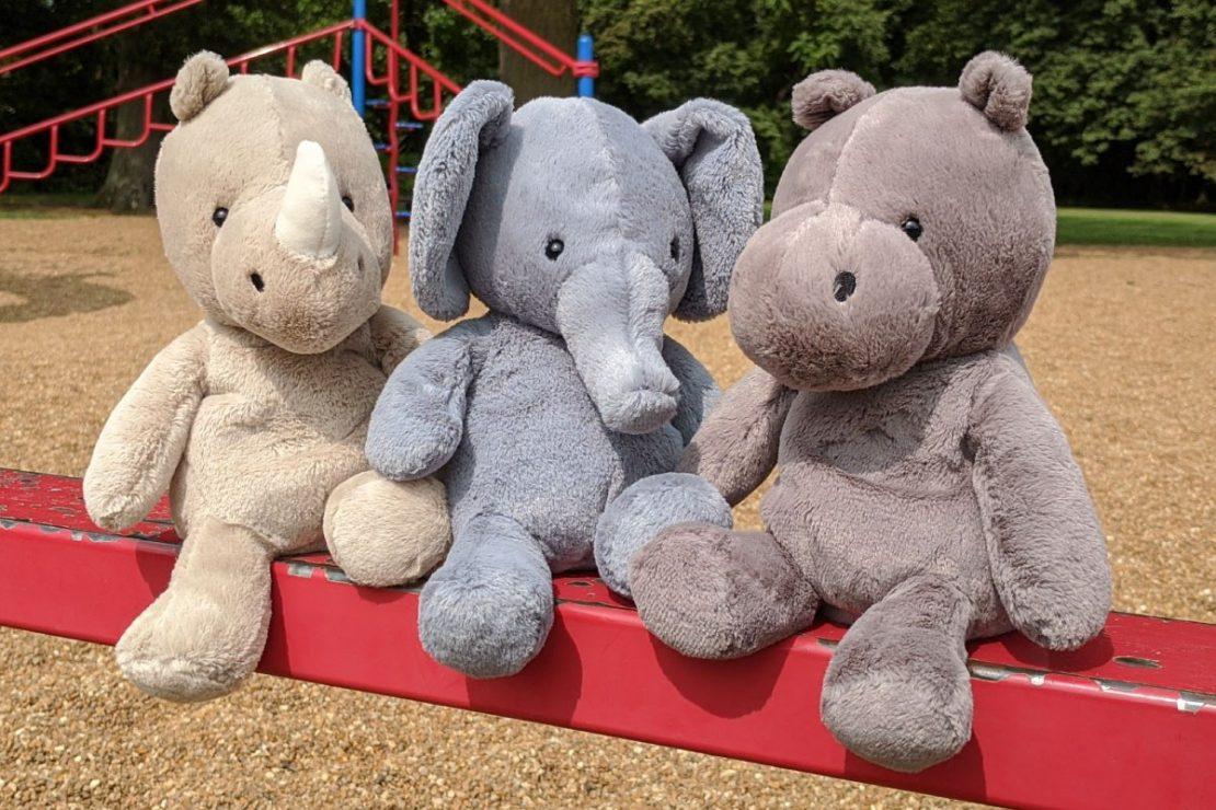 Nimbus Rhino, Elephant, and Hippo from Jellycat