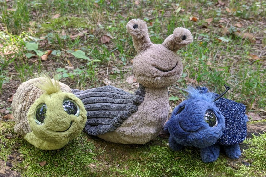 Frizzle Snail, Stanley Slug, and Frizzle Beetle from Jellycat