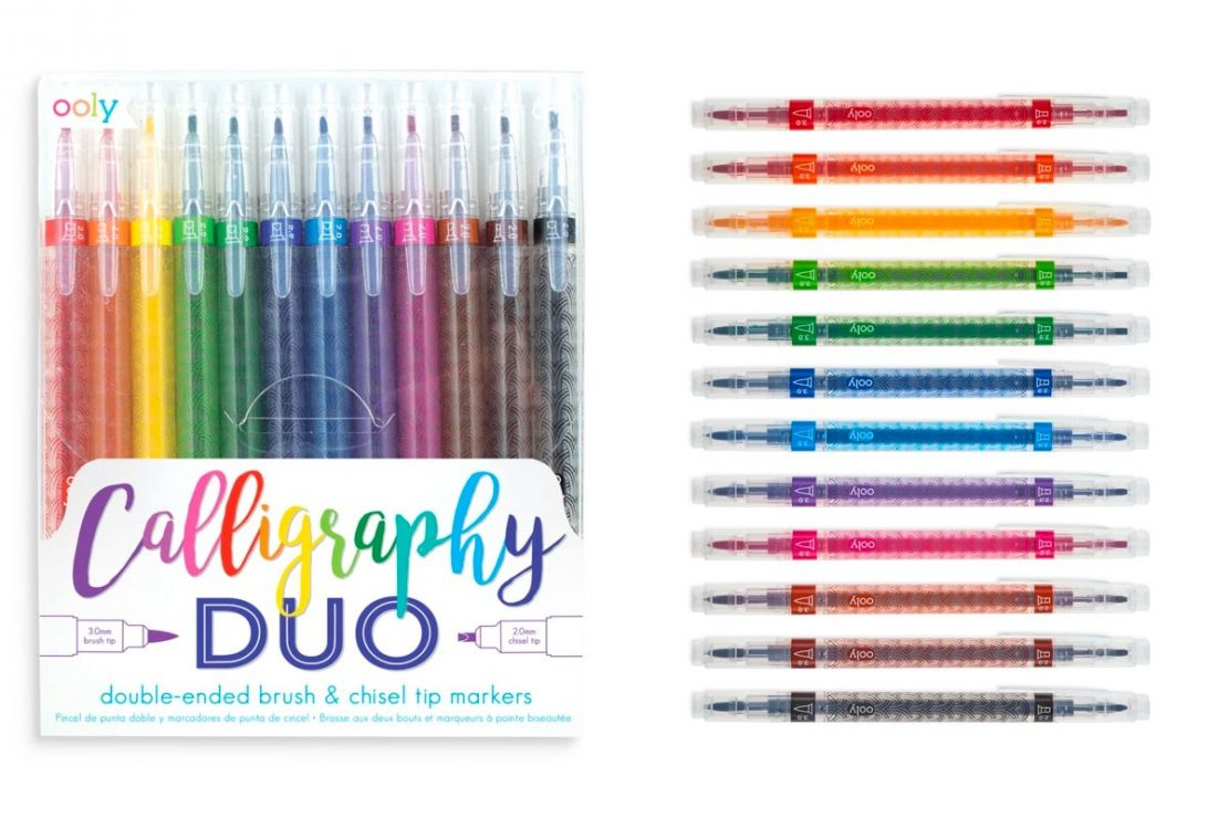 Calligraphy Duo 12 Chisel & brush tip markers from Ooly