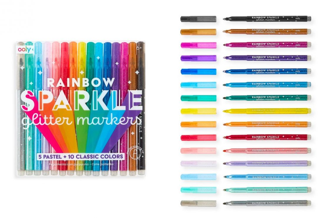 Rainbow Sparkle 15 Glitter Markers from Ooly