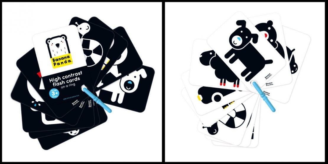 Banana Panda High Contrast Flash Cards on a Ring 3+mo