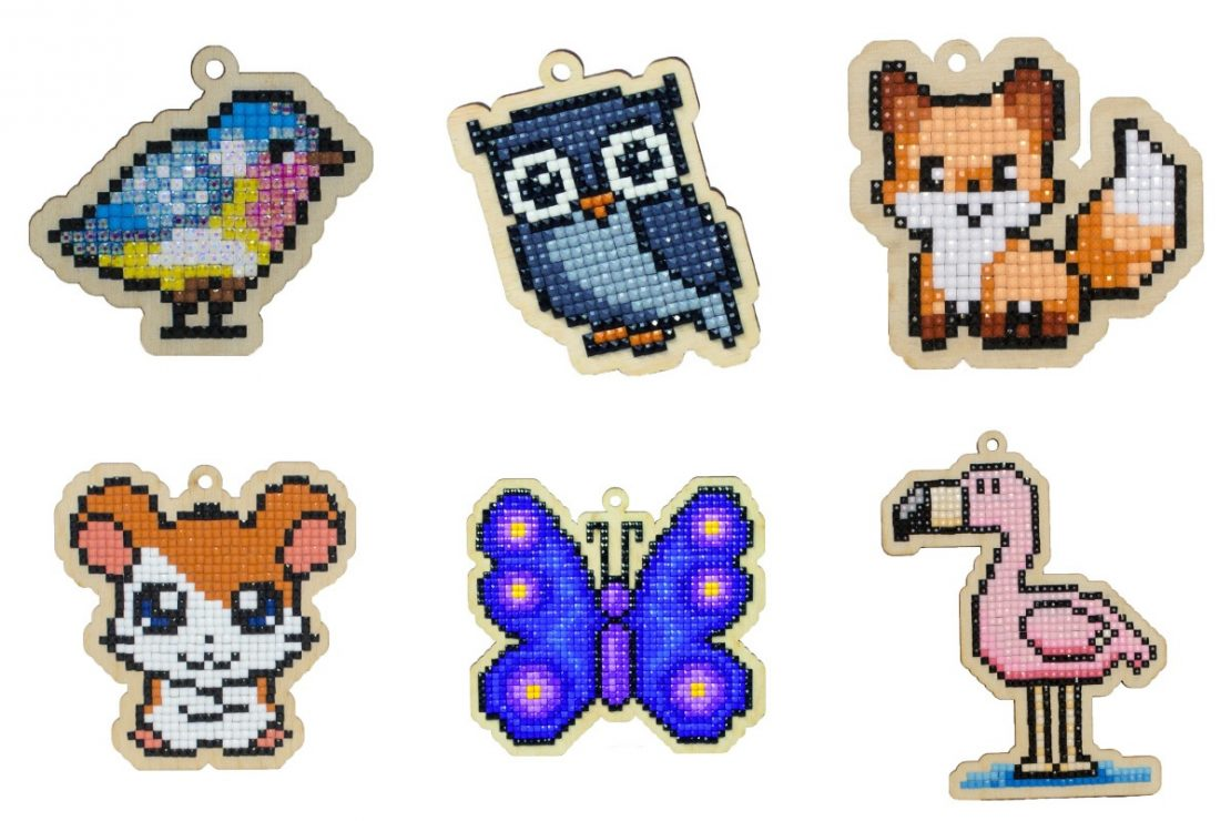 Wizardi Diamond Painting Wooden Charms Examples