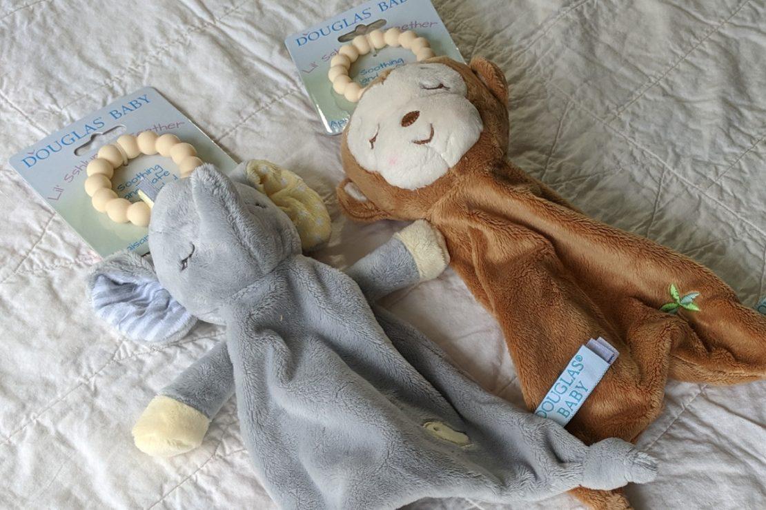 Douglas Baby Lil' Sshlumpie Teethers Elephant & Monkey