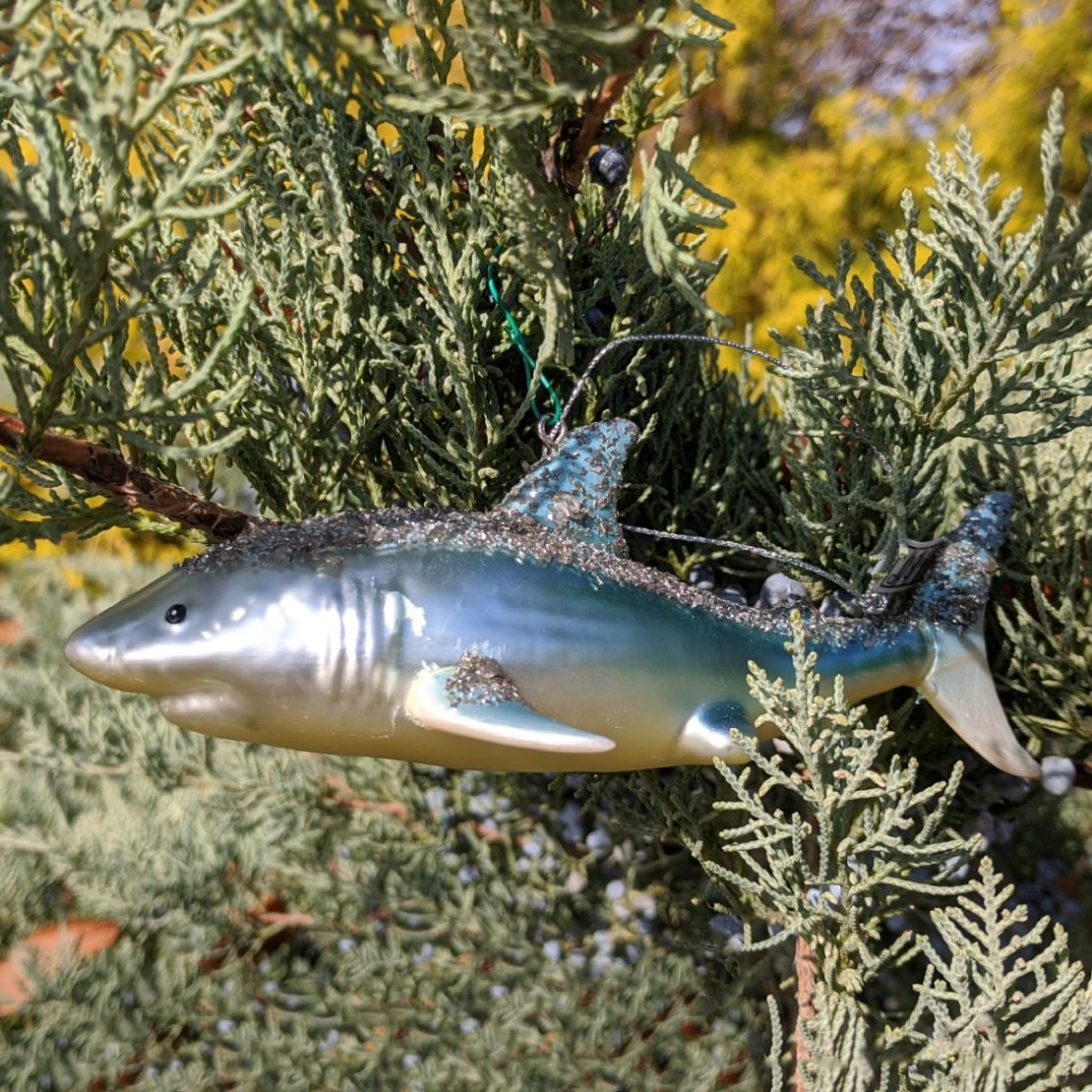 Sparkly Shark Holiday Ornament