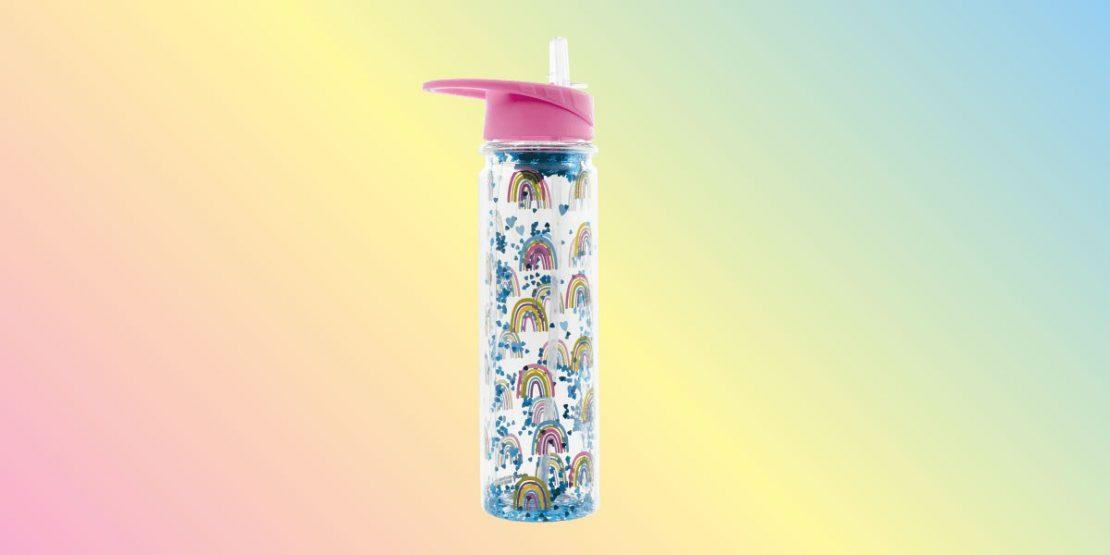 Rainbow & Hearts Water Bottle from iScream